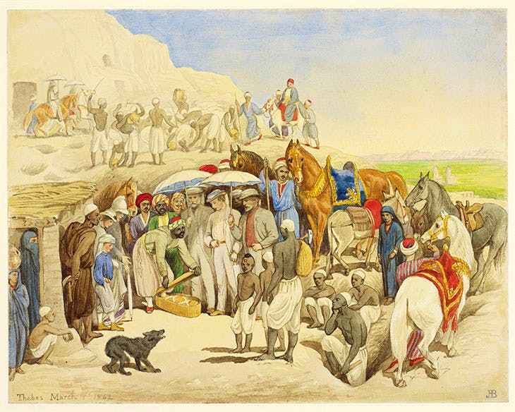 The Prince of Wales at Thebes, 18 March 1862 (1862), Jemima Blackburn.