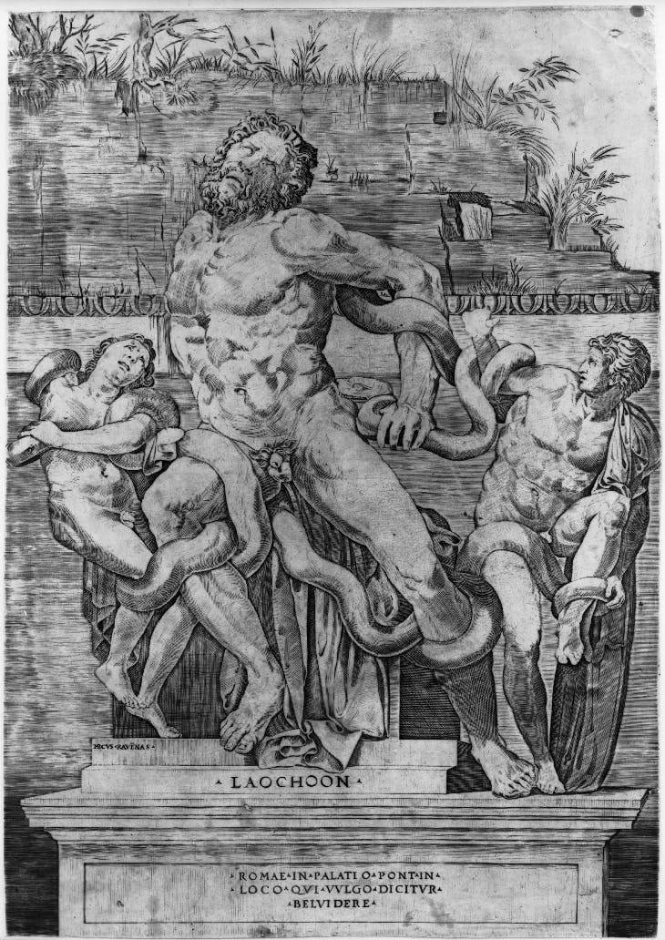 Laocoön and his sons being attacked by serpents (16th century), Marco Dente.