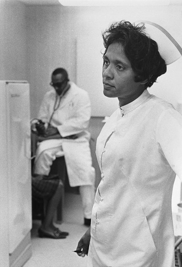 Nurse Ora Bouie and a doctor at Tufts Delta Health Clinic, Mound Bayou, Mississippi (1968), Doris Derby.