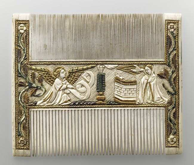 Double-sided comb with religious scenes (15th century), possibly central Netherlands.