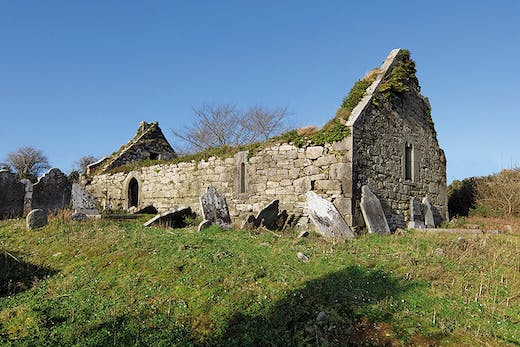 The remains of a late medieval church in Garryvoe , Co Cork.