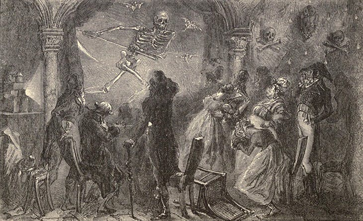 'Fantasmagorie Robertson' , engraving by A. Jahandier after a painting by Alphonse de Neuville, published in 'L'Optique' by Fulgence Marion (1867).
