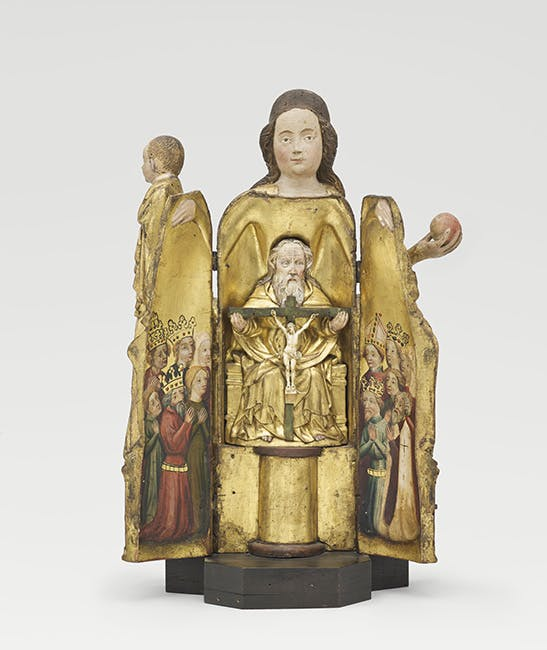 Polychrome wooden carving of a Virgin and Child with the Trinity inside (c. 1400), eastern Prussia.