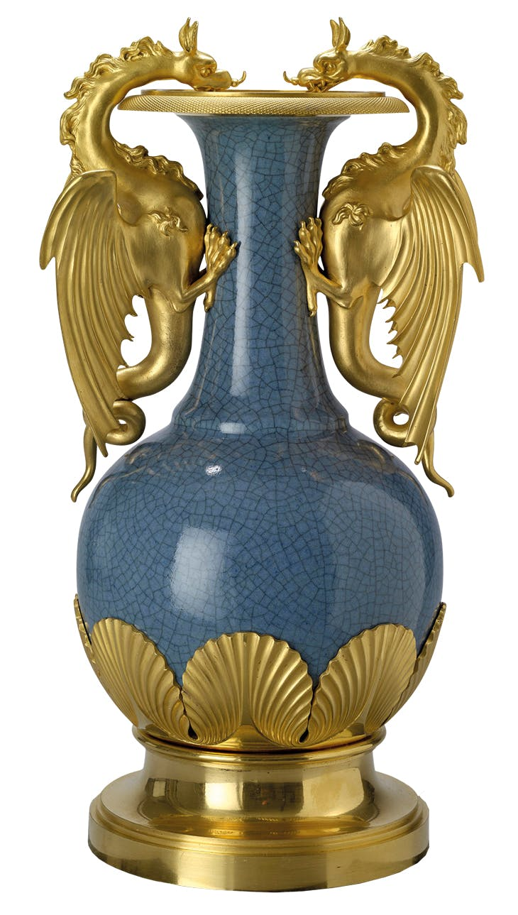 Vase (second half 18th century), Jingdezhen; mount (1808), Vulliamy & Sons.