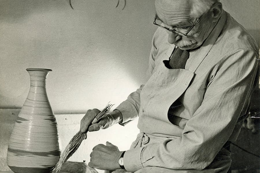Bernard Leach working at the wheel (detail; 1963).