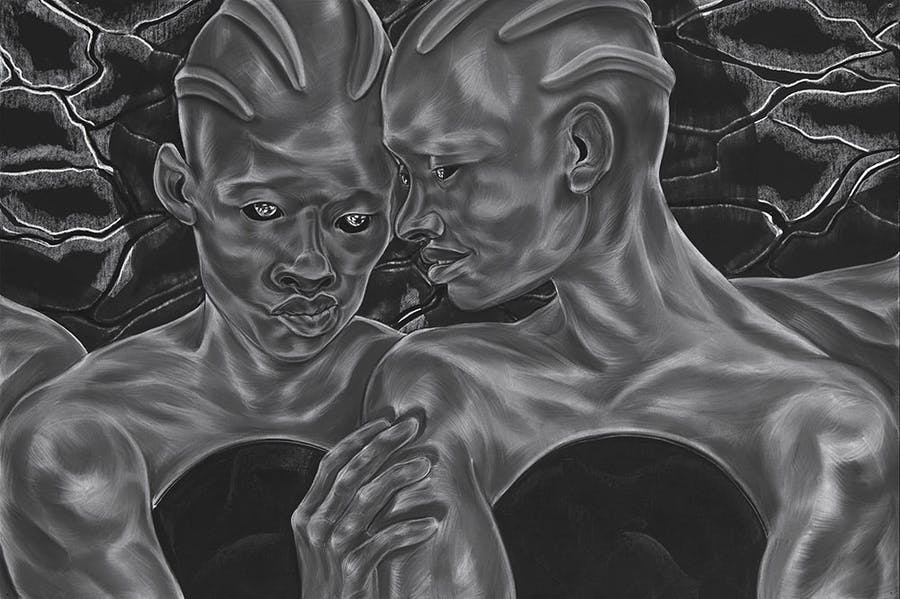 To See and To Know; Future Lovers from A Countervailing Theory (2019), Toyin Ojih Odutola.