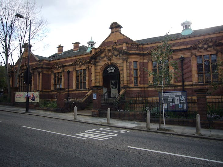 The Carnegie Library in Herne Hill, London, designed by Wakeford and Sons and opened in 1906. It was funded by a grant from Andrew Carnegie.