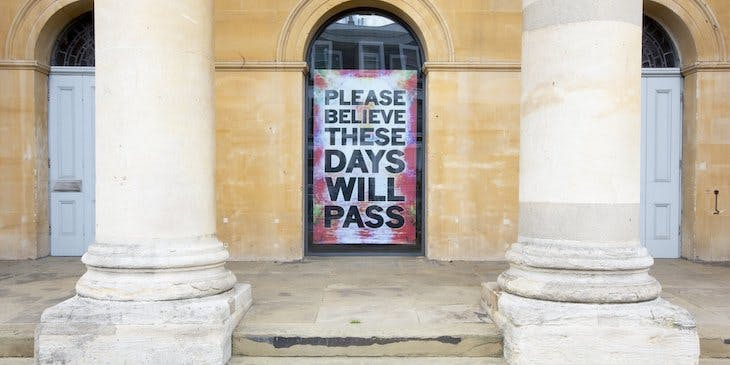 Poster by Mark Titchner installed in the window of the Zabludowicz Collection, London