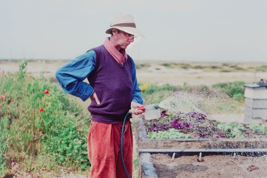 Derek Jarman at Prospect Cottage (detail; c. 1990).
