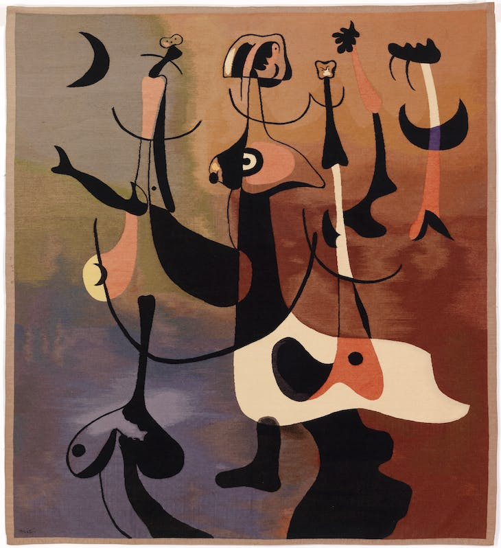 Rhythmic Figures (Personnages rythmiques), or Woman and Birds (1934), Juan Miró, woven in Aubusson.