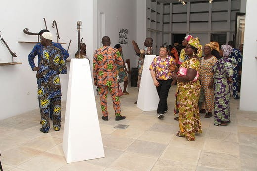 Visitors to the Petit Musée de la Récade inside the Centre for Arts and Culture in Cotonou, Benin, on 17 January 2020.