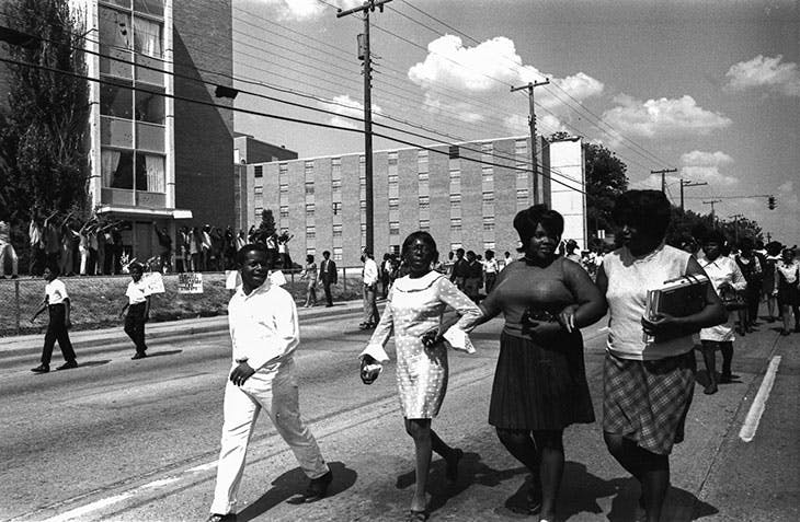 A solidarity funeral procession on Lynch Street, Jackson, on the day of the funeral of James Earl Green.