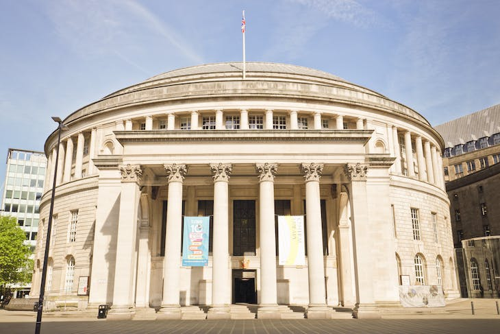 Manchester Central Library, designed by E. Vincent Harris and constructed between 1930 and 1934.