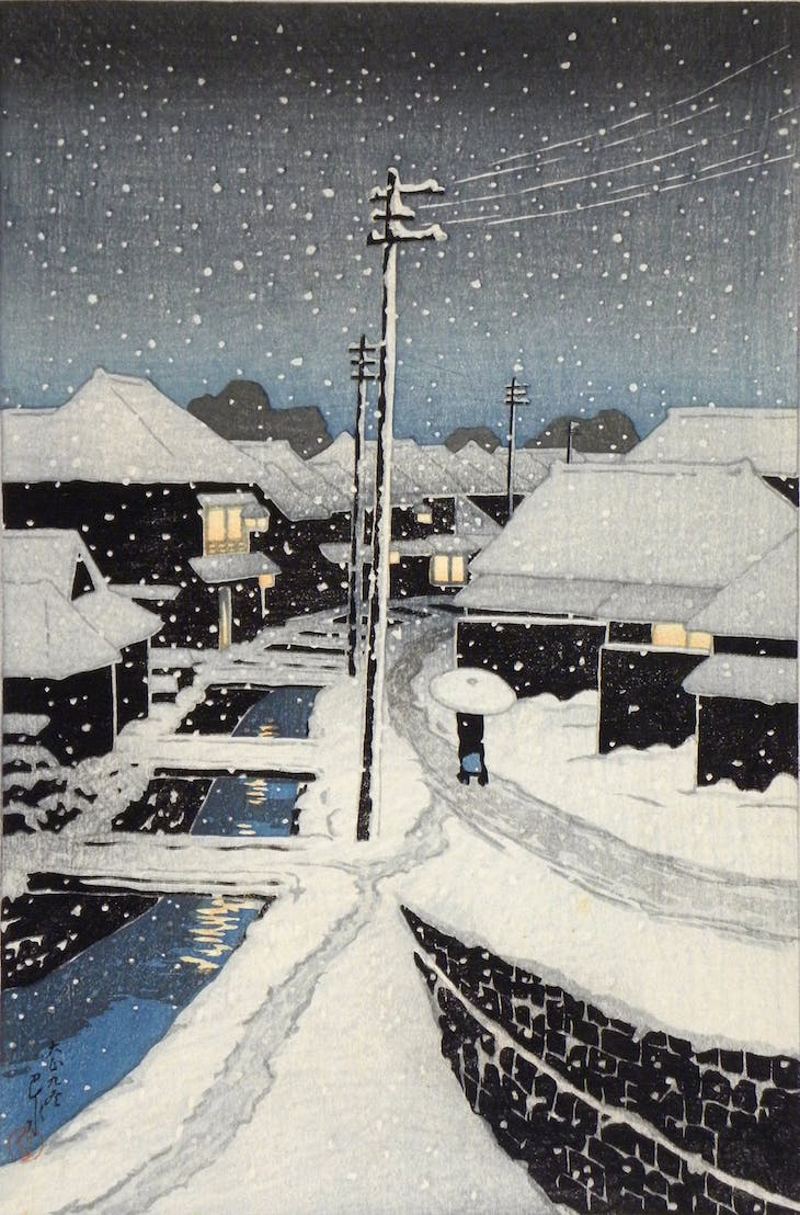Evening of snow at Terajima (1920), Hasui Kawase.