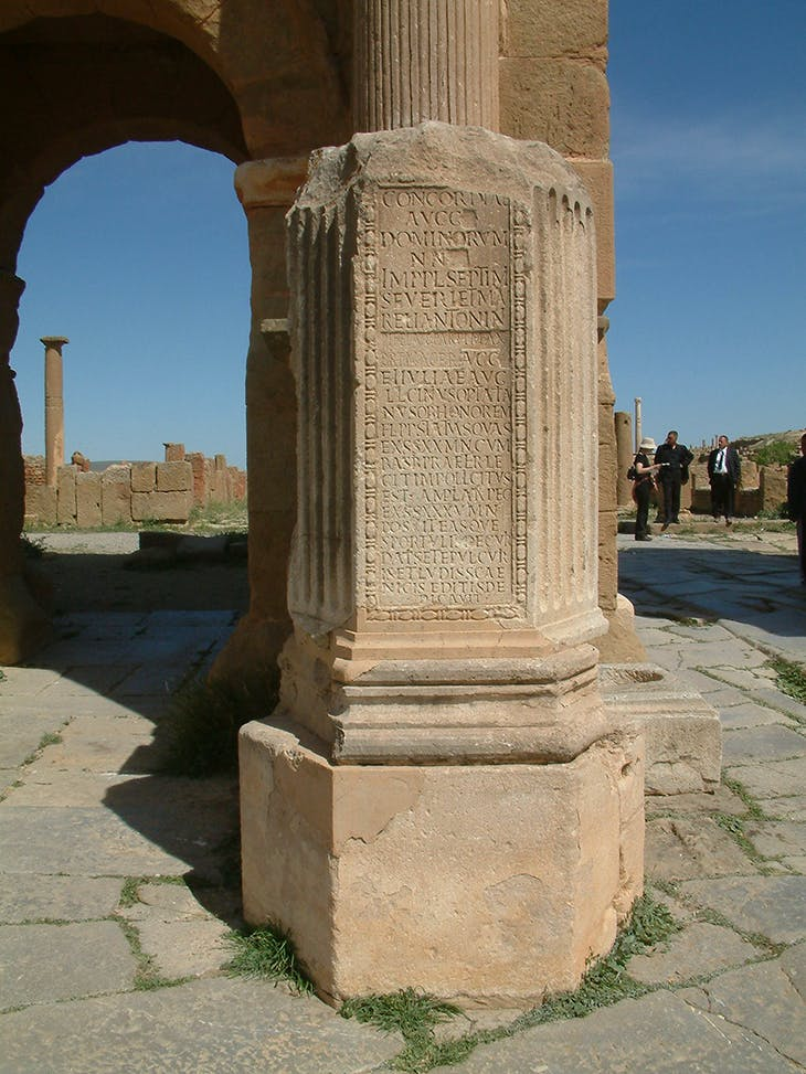 Inscription with amended text on the Arch of Trajan in Timgad, Algeria. Photo: Matthew Nicholls