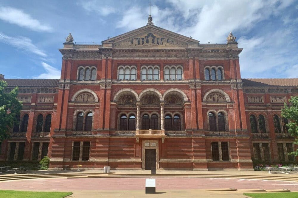 The Victoria and Albert Museum, London, with the restored balcony.