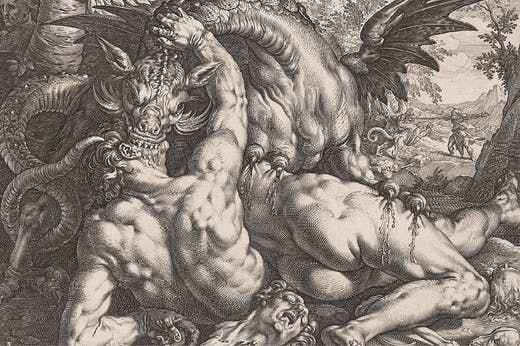 The Dragon Devouring the Companions of Cadmus (detail; 1588), Hendrick Goltzius.