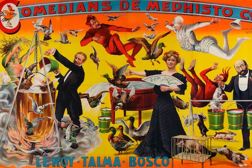 Comedians de Mephisto Co. Allied with Le Roy-Talma-Bosco (detail; 1905), Adolph Friedländer.