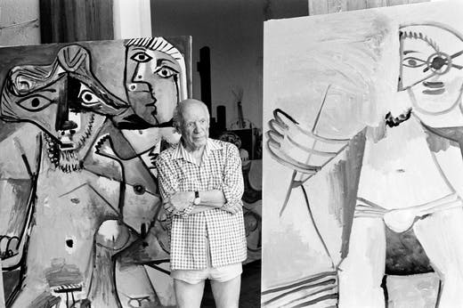 Pablo Picasso at his home and studio in Mougins, south of France, on October 13, 1971. Photo: Ralph Gatti/AFP via Getty Images