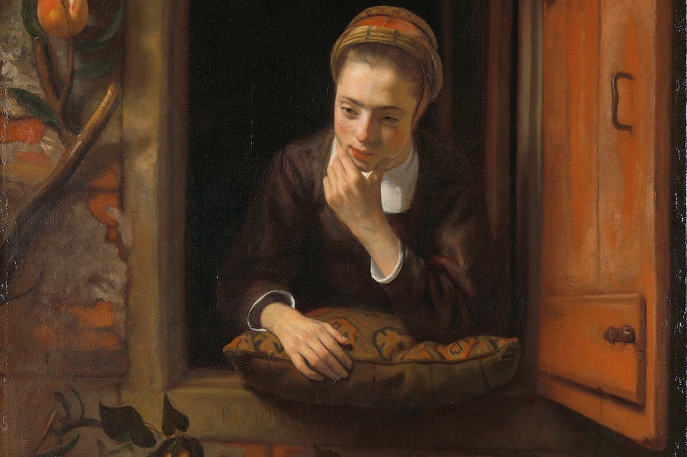 Girl at a Window (detail; 1653–55), Nicolas Maes.