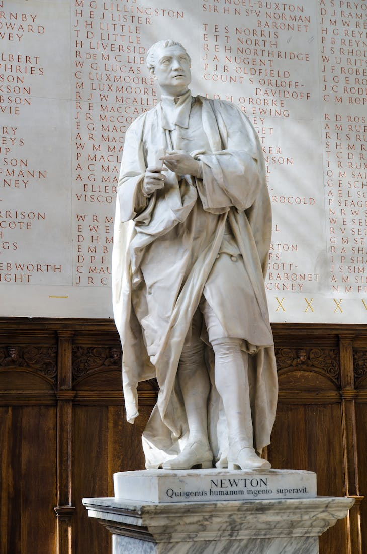 Statue of Isaac Newton (1755), Louis François Roubilliac, at Trinity College, Cambridge.