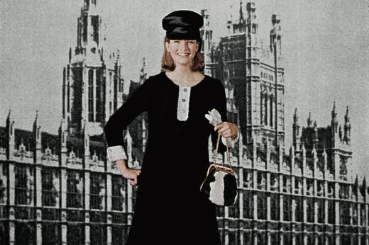 Model wearing Mary Quant's Pattern No. 3288, set against the Houses of Parliament (1964), John Walcott