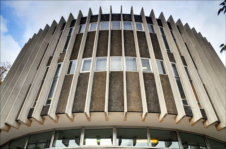 Swiss Cottage Library, London, designed by Sir Basil Spence, Bonnington and Collins in 1964.