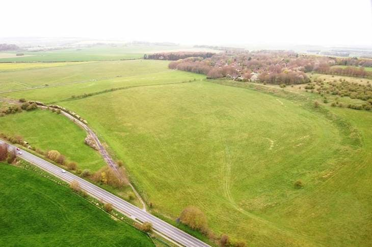 Aerial view of the landscape at Durrington, photographed in 2020.