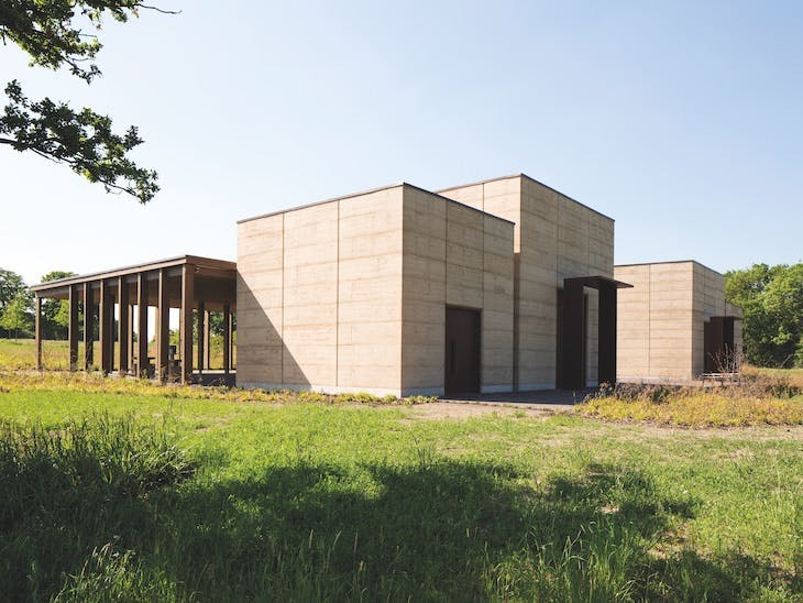 They prayer halls at Bushey New Cemetery, designed by Waugh Thistleton Architects and constructed in 2017.