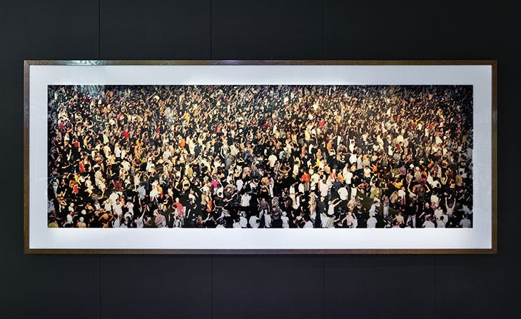 Union Rave (1995), Andreas Gursky. Installation view of 'Electronic: From Kraftwerk to The Chemical Brothers' at the Design Museum, London.