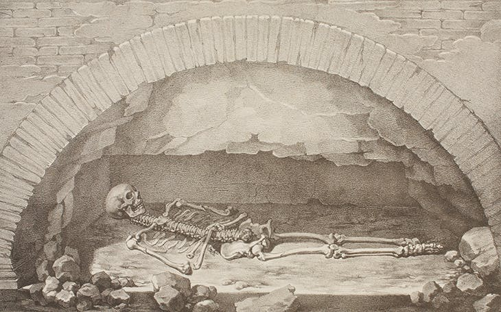 Raphael's Skeleton at the Opening of his Tomb (c. 1833), Giambattista Borani, after a drawing by Vincenzo Camuccini. Thorvaldsens Museum, Copenhagen