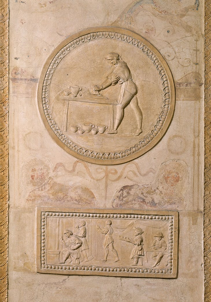 Pilaster reliefs depicting scenes from Raphael's workshop (1518–19), Giovanni da Udine. Palazzo Pontifici, Vatican City