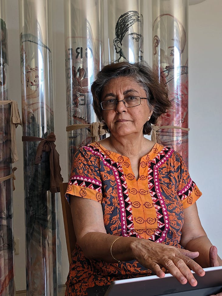 Nalini Malani, photographed at home in Amsterdam in August 2020.