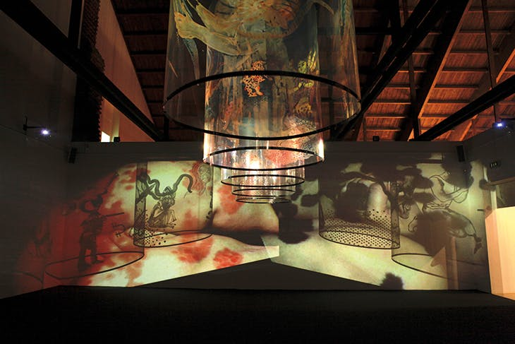 In Search of Vanished Blood (2012), Nalini Malani. Installation view at the Castello di Rivoli in 2018. Burger Collection, Hong Kong.