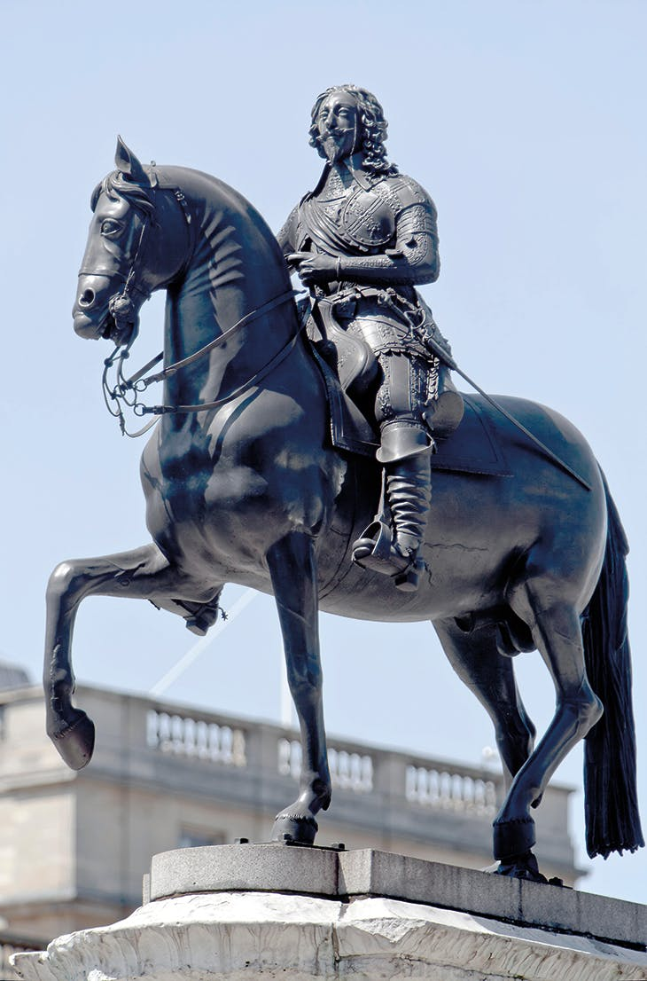Equestrian statue of Charles I (1633), Hubert Le Sueur, erected at Charing Cross in 1675.