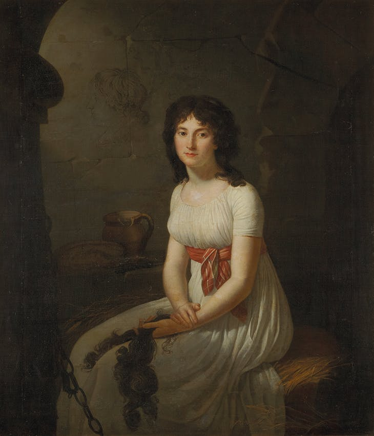 Comrade Tallien in a Cell, Holding Her Cut Hair (1796), Jean-Louis Laneuville. Private collection