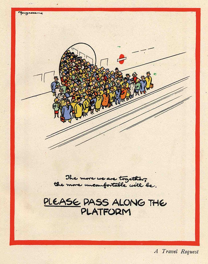'Please Pass Along the Platform' (1944), Cyril Kenneth Bird, known as 'Fougasse'.