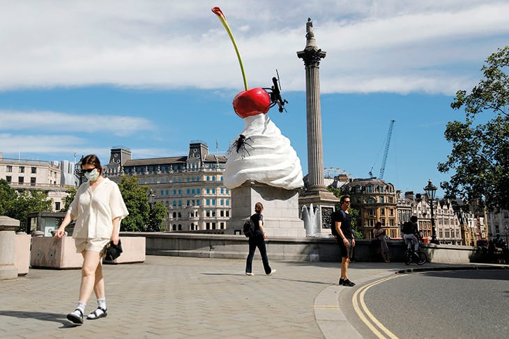 THE END (2020) by Heather Phillipson, installed on the Fourth Plinth in Trafalgar Square, London