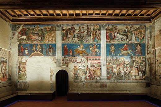 The east wall of the Salone dei Mesi in Palazzo Schifanoia, Ferrara, showing March, April and May, painted by Francesco del Cossa in 1469–70.