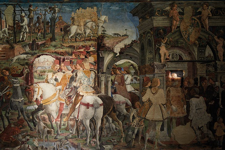 March on the east wall of the Salone dei Mesi in the Palazzo Schifanoia, Ferrara (with details accented).