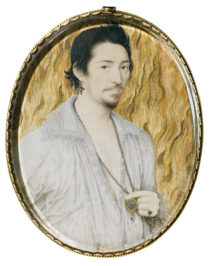 Unknown Young Man against a Background of Flames, c. 1600, Nicholas Hilliard. Victoria and Albert Museum, London