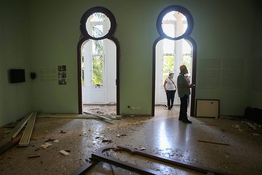 Staff inspect the damage at the Sursock Museum in Beirut on on 5 August 2020, a day after a blast in a warehouse in the port of the Lebanese capital sowed devastation across entire city neighbourhoods, killing more than 100 people, wounding thousands. Photo by Patrick Baz/AFP via Getty Images
