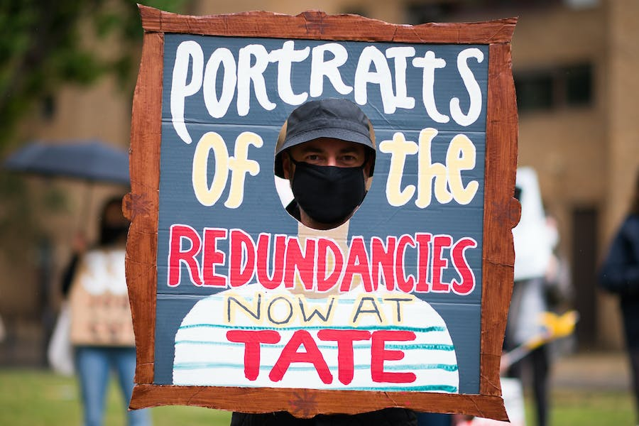 Demonstrators protest outside Tate Modern over proposed job losses on 27 July, 2020.