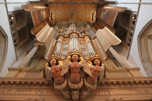 The great organ at the Grote Kerk, Alkmaar, dating to 1645 and housed in a case designed by Jacob van Campen.