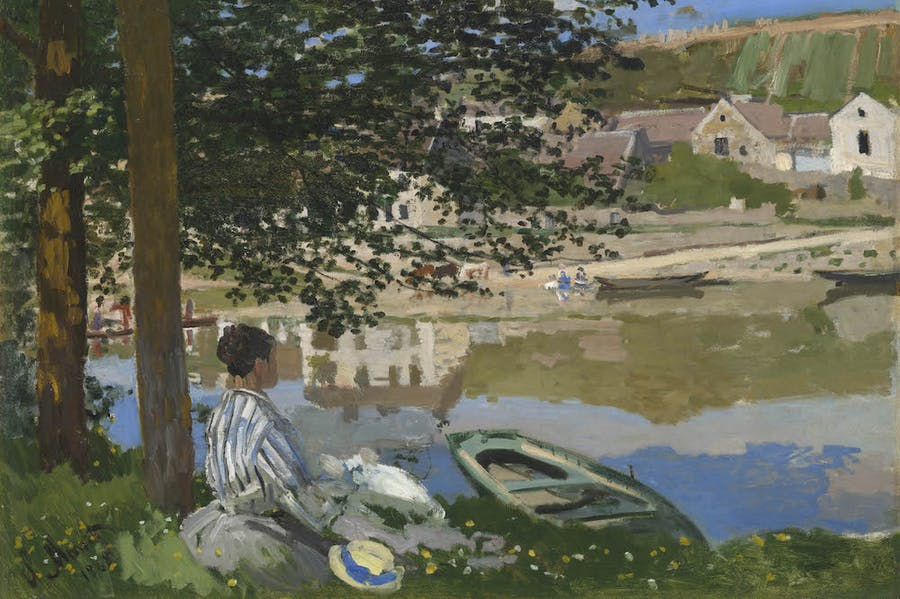 On the Bank of the Seine, Bennecourt (detail; 1868), Claude Monet.