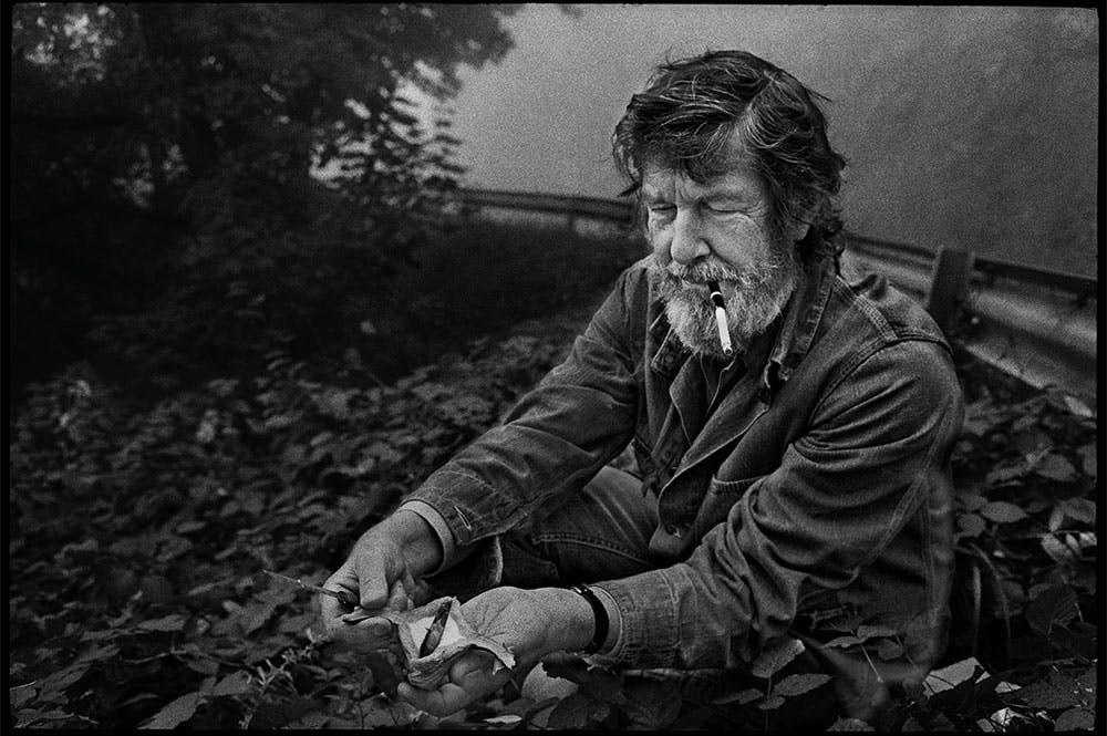 John Cage foraging in Grenoble, France, in 1971.