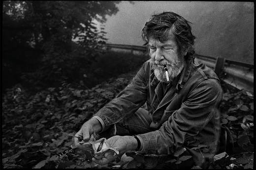 John Cage foraging in Grenoble, France, in 1971.