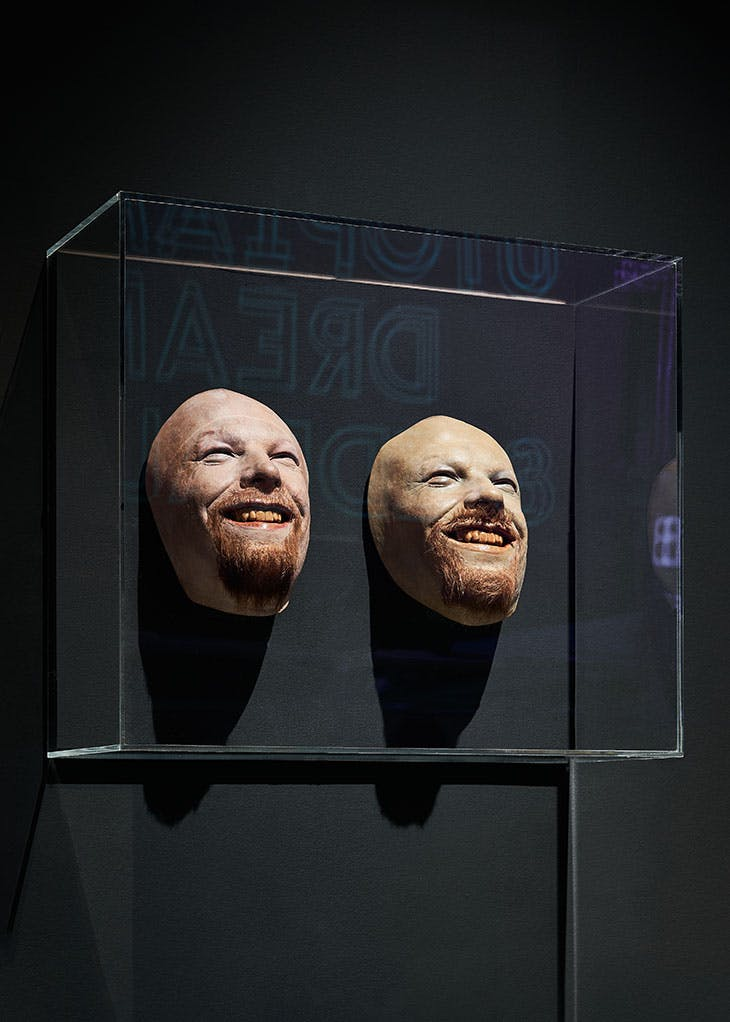 Masks from the Aphex Twin video Windowlicker (1999), installed in 'Electronic: From Kraftwerk to The Chemical Brothers' at the Design Museum, London.