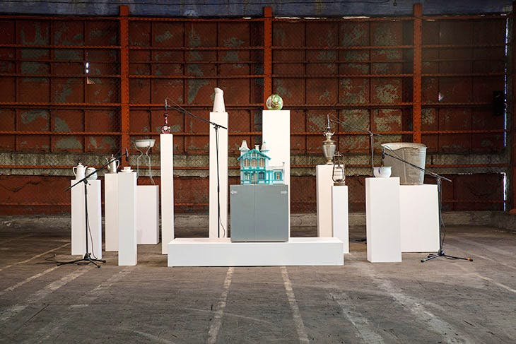 Simply Rights/Unattained Goals (Household Gods (Aspazija)) (2020), Oliver Beer. Installation view at the 2nd Riga International Biennial of Contemporary Art, RIBOCA2, 2020.