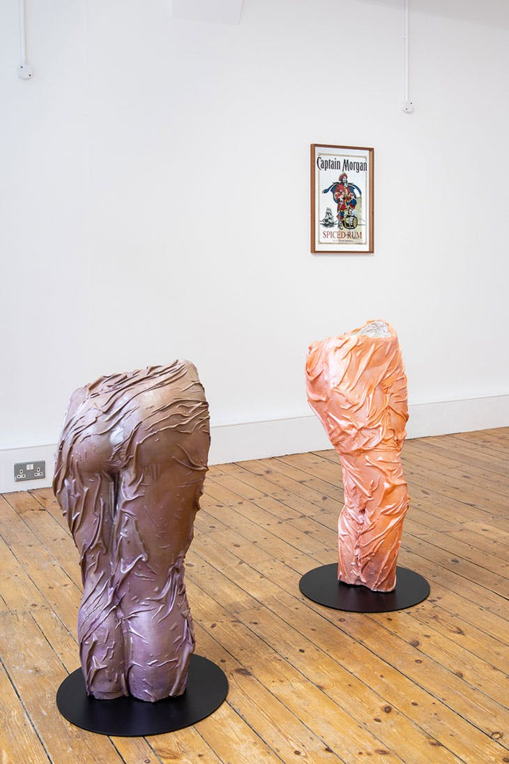 Installation view of 'Suture: Kobby Adi, Lydia Blakeley, Jala Wahid' at Niru Ratnam, London, 2020. Photo: Damian Griffiths